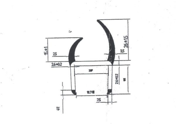 Резино-пластиковый уплотнитель для ворот 20мм L=3м чертеж