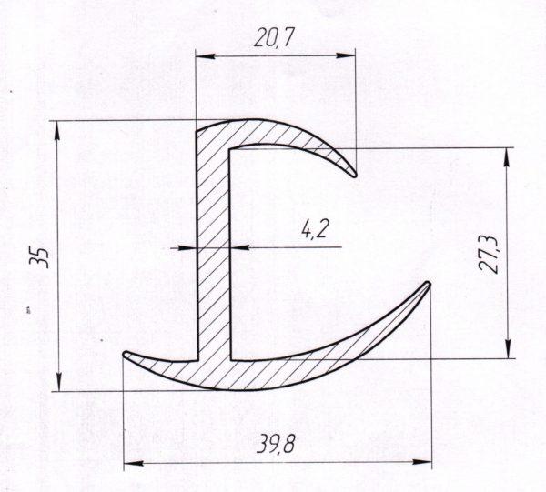 Резиновый уплотнитель 27мм L=30м чертеж