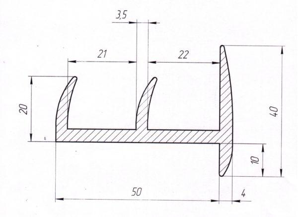 Резиновый уплотнитель 50мм L=30м чертеж