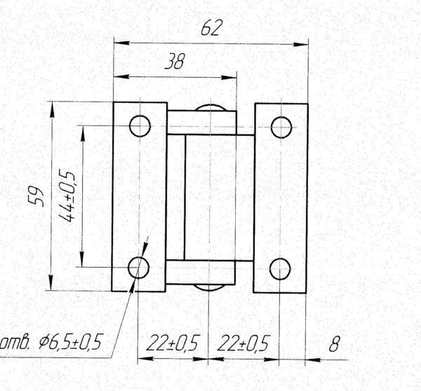 Петля боковой двери 38x59 чертеж