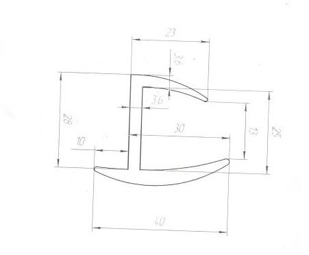 Резиновый уплотнитель 25мм L=30м чертеж
