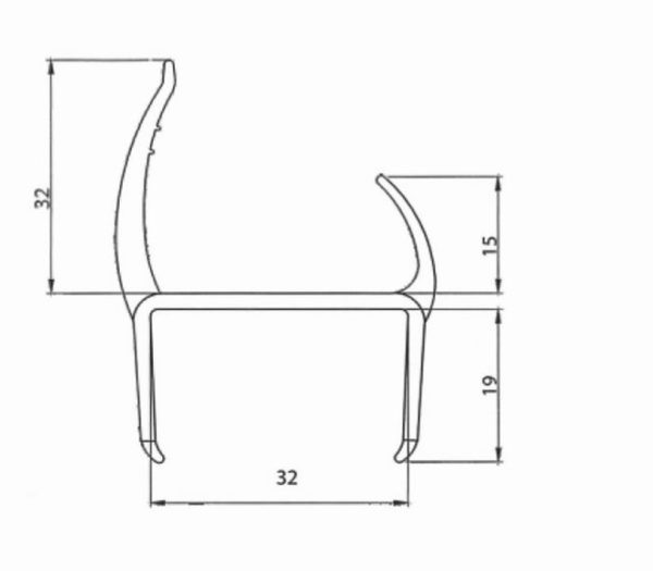 Резино-пластиковый уплотнитель для ворот 30мм L=3м чертеж