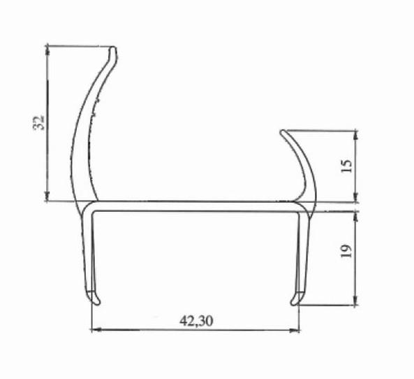 Резино-пластиковый уплотнитель для ворот 40мм L=3м чертеж