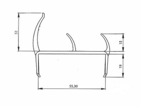 Резино-пластиковый уплотнитель для ворот 55мм L=5м чертеж