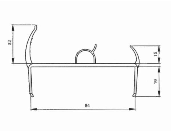 Резино-пластиковый уплотнитель для ворот 84мм L=5м чертеж