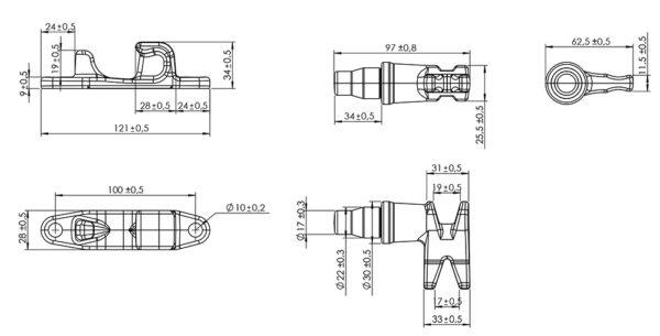 Замок штанговый d22 Push ручка нержавейка чертеж