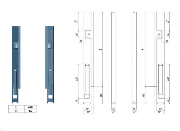 Стойка борта быстросъемная передняя правая L400 чертеж
