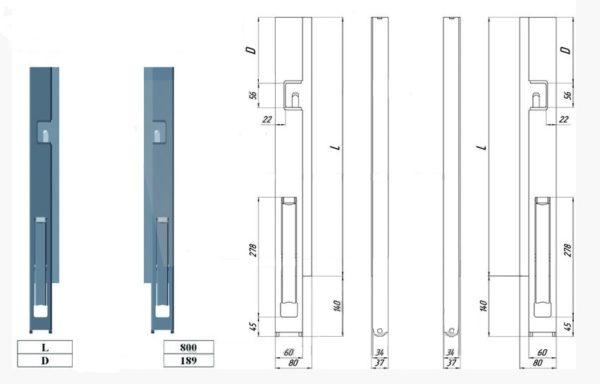 Стойка борта быстросъемная передняя правая L800 чертеж