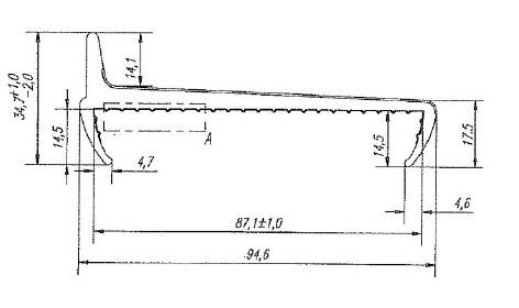 Уплотнитель из термоэластопластов 85 мм встречный L=2850 чертеж