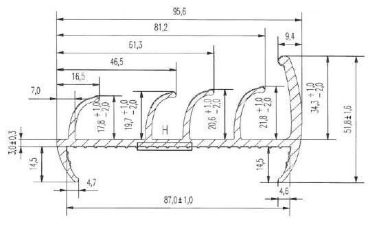 Уплотнитель из термоэластопластов 85 мм основной L=2850 чертеж